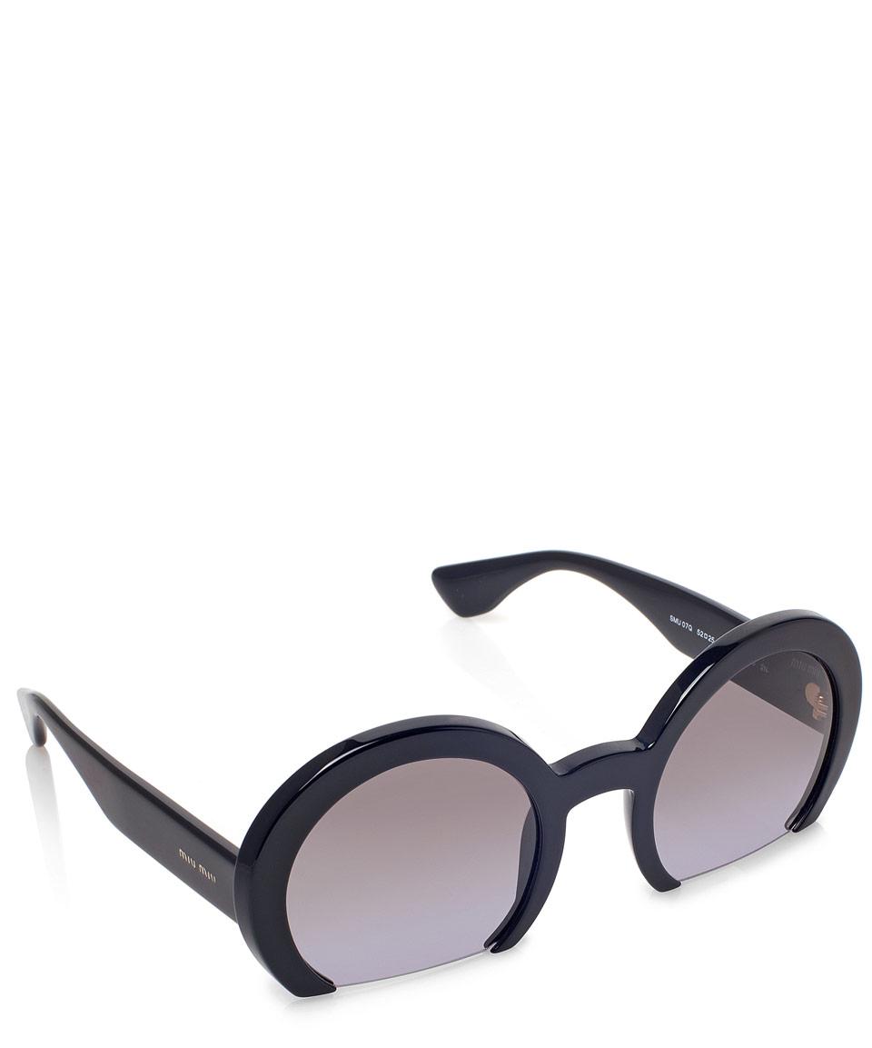 Lyst - Miu Miu Black Half-frame Round Sunglasses in Black