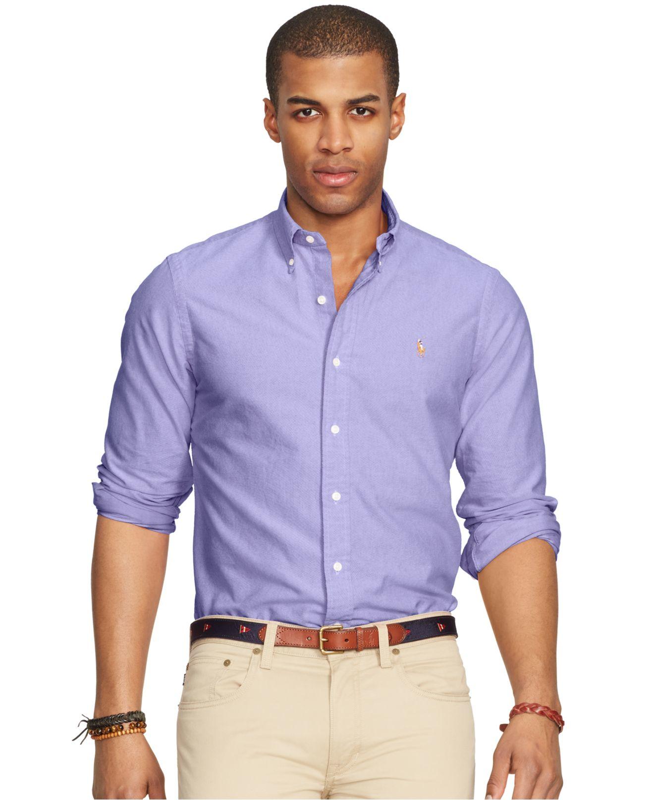 Polo ralph lauren oxford shirt in purple for men royal for Royal purple mens dress shirts