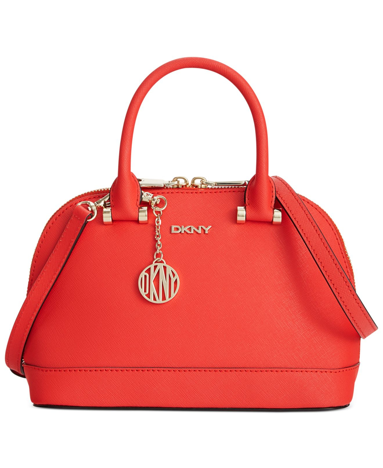 dkny bryant park saffiano leather mini round crossbody in red coral lyst. Black Bedroom Furniture Sets. Home Design Ideas