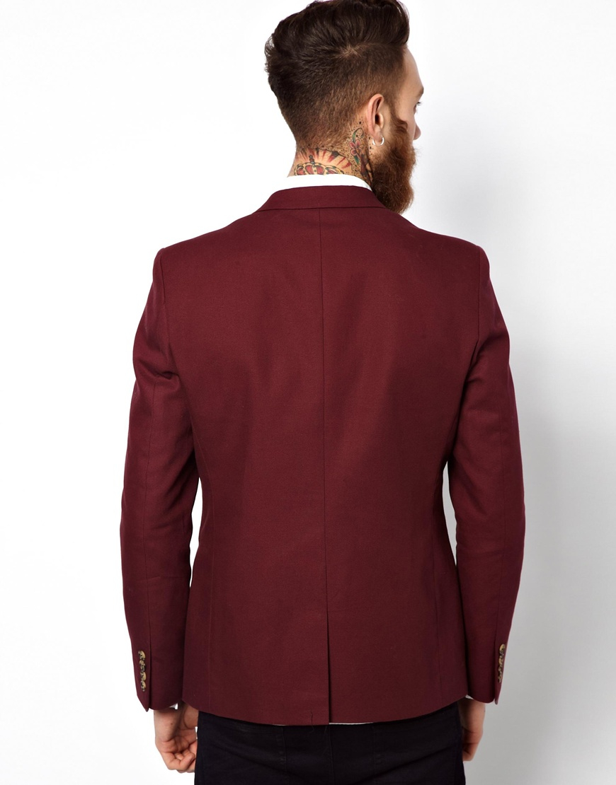 Asos Slim Fit Blazer In Cotton In Red For Men Lyst