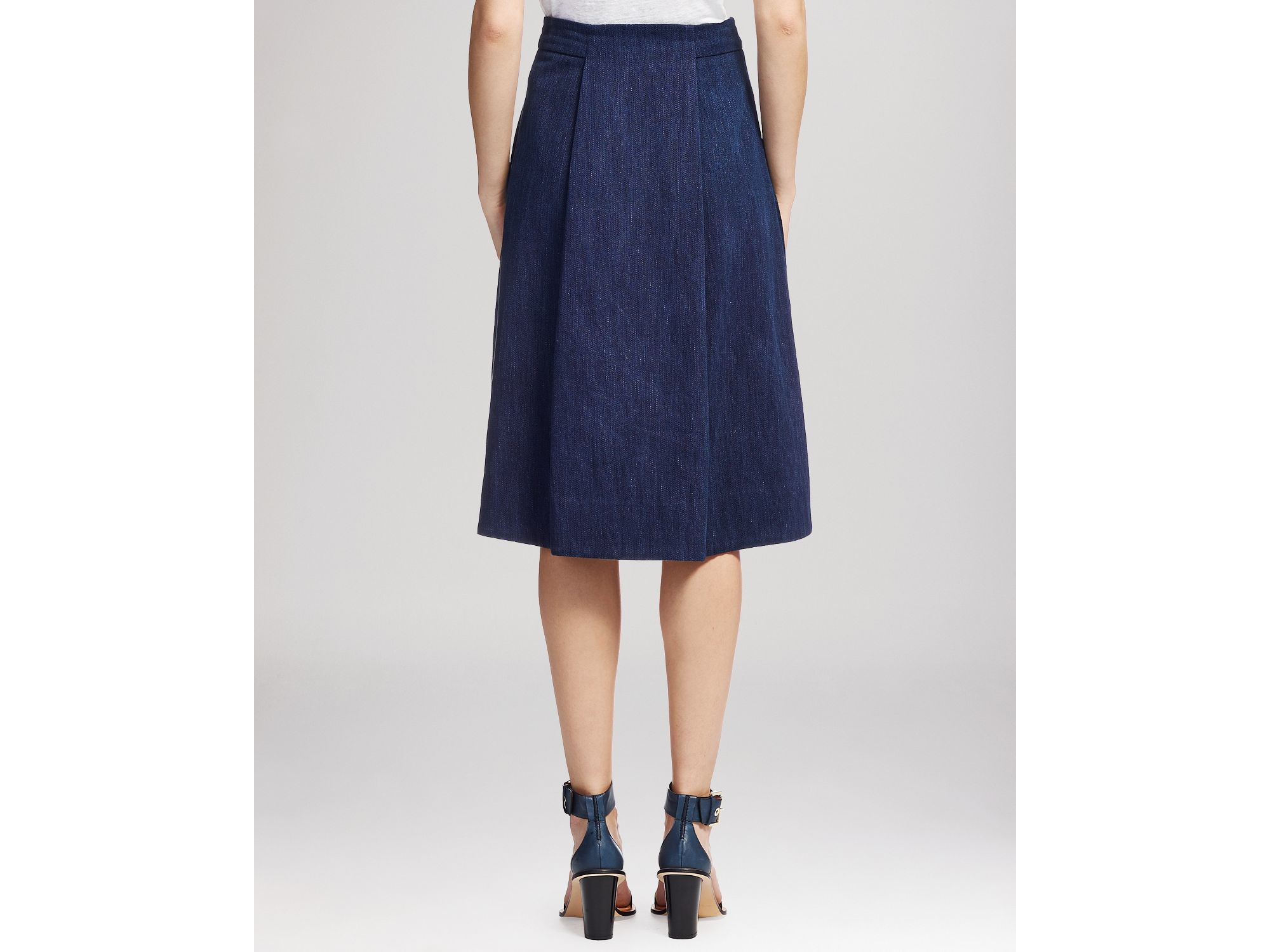 Whistles Skirt - Exposed Zip Front Midi in Blue | Lyst