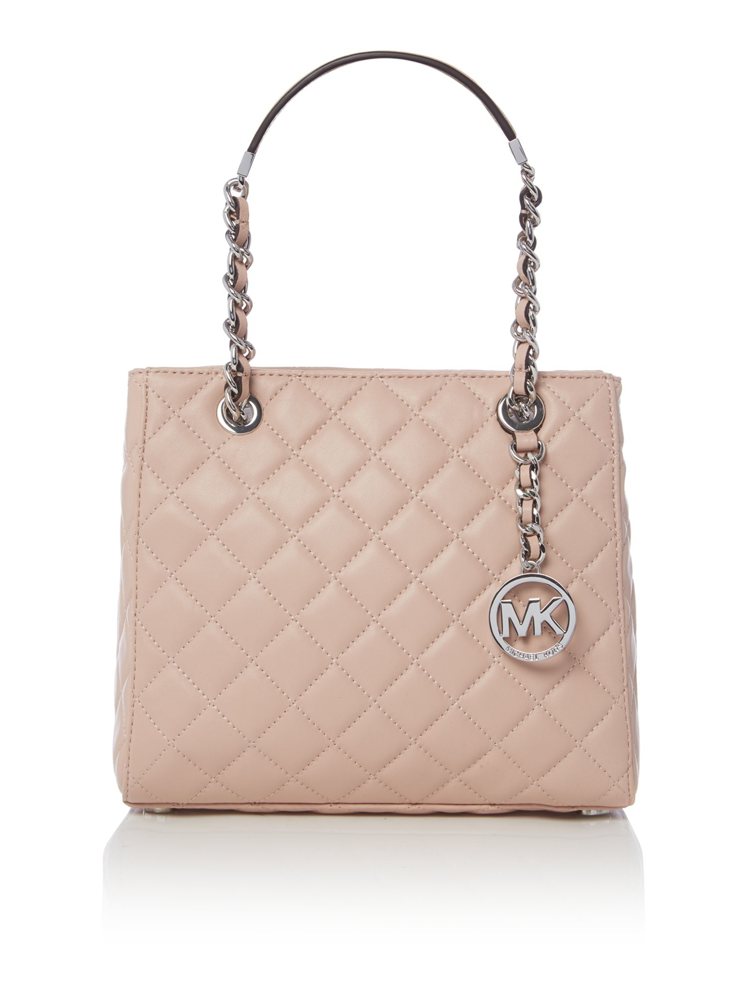 michael kors susannah pink quilted tote bag in pink lyst. Black Bedroom Furniture Sets. Home Design Ideas