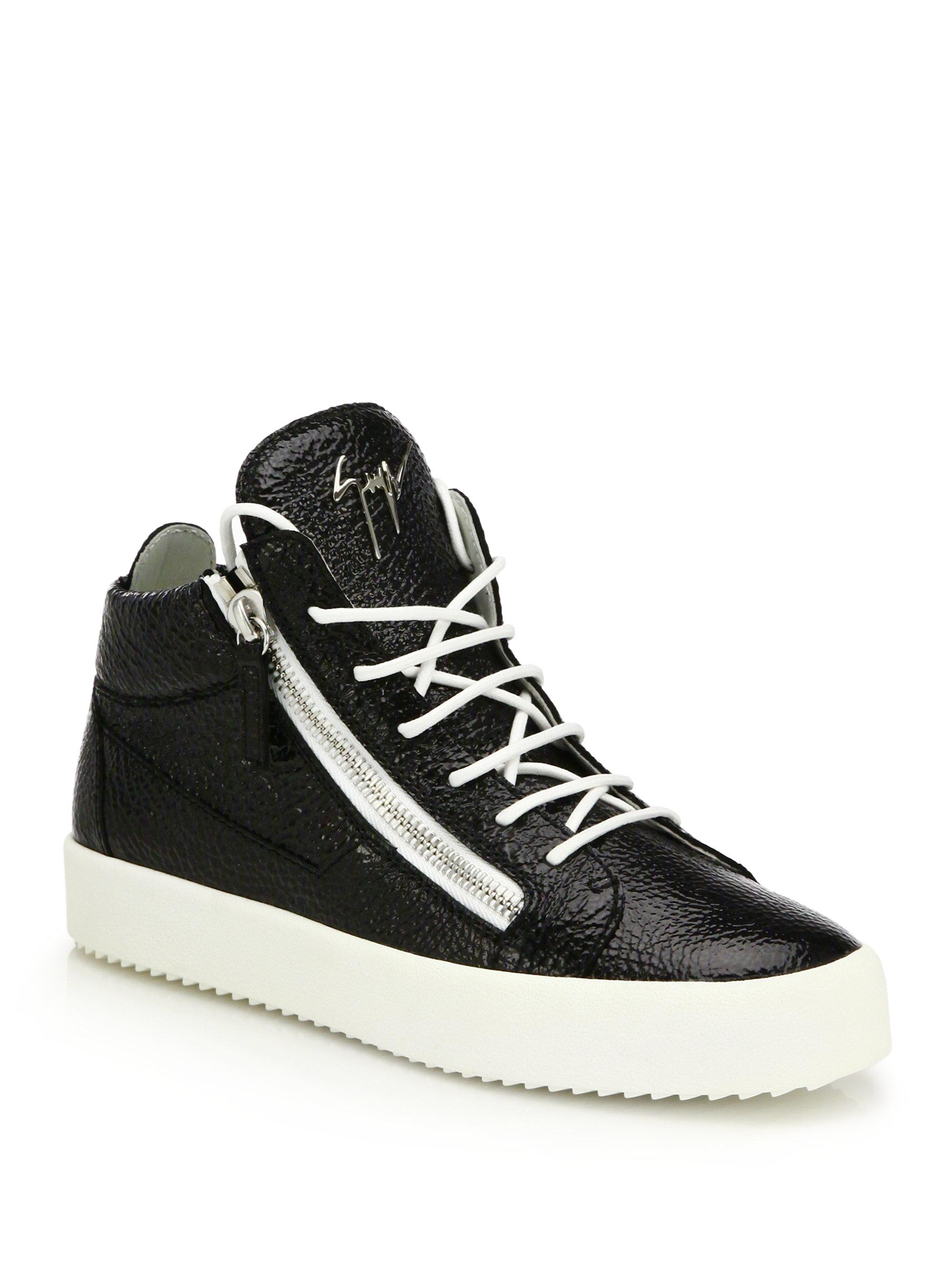 Mens Leather Double-Zip Mid-Top Sneakers Giuseppe Zanotti M0q26JjEE