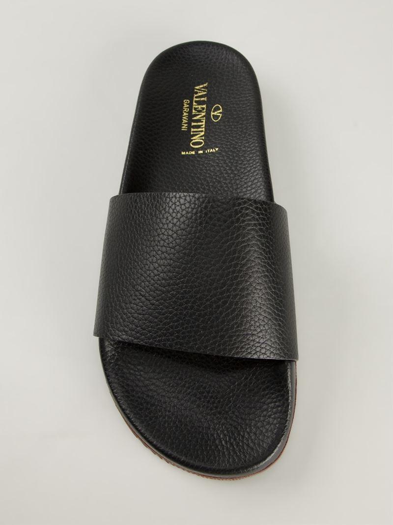 Valentino Pool Sliders In Black For Men Lyst