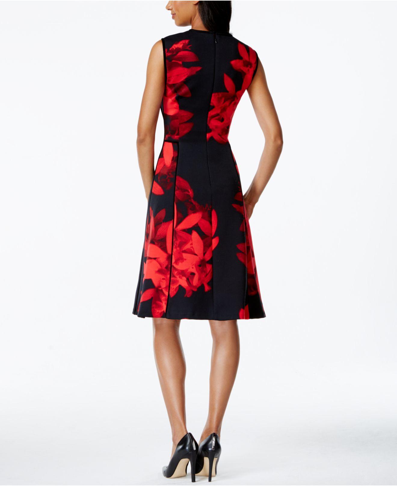 Calvin Klein Floral Print Side Pocket Dress In Red Lyst