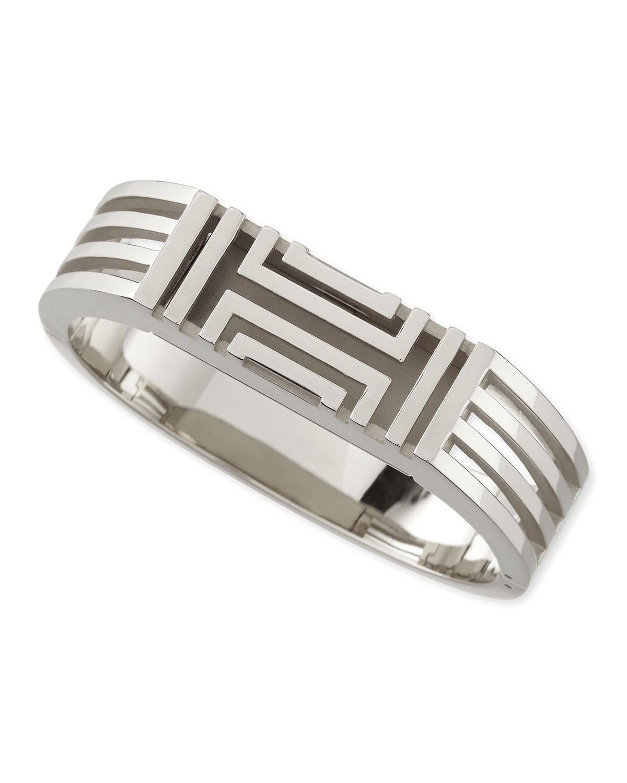 Tory Burch Rhodium Plated Fitbit Case Bracelet In Metallic