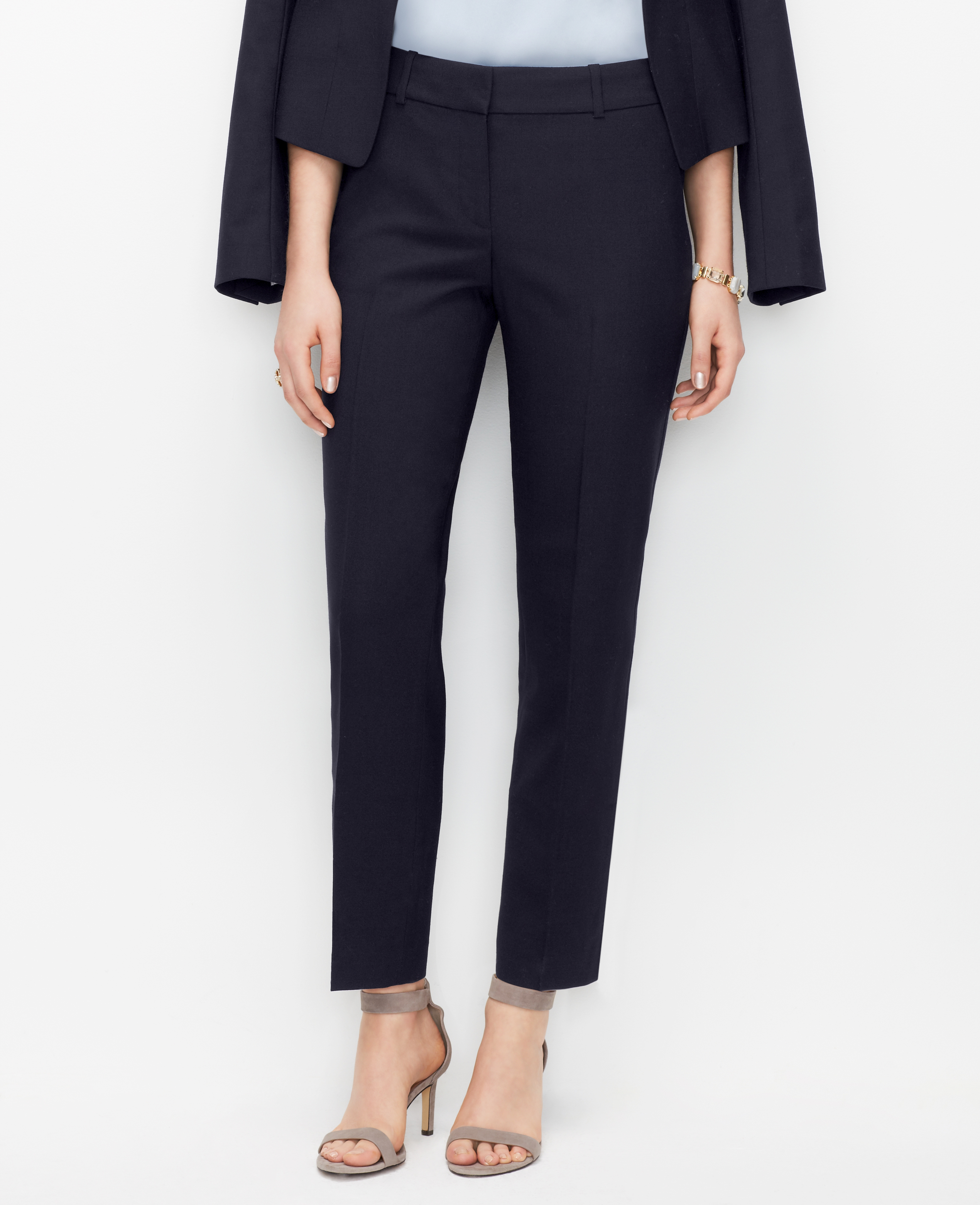 Ann Taylor Curvy Signature Straight Ankle Pants In Blue Lyst