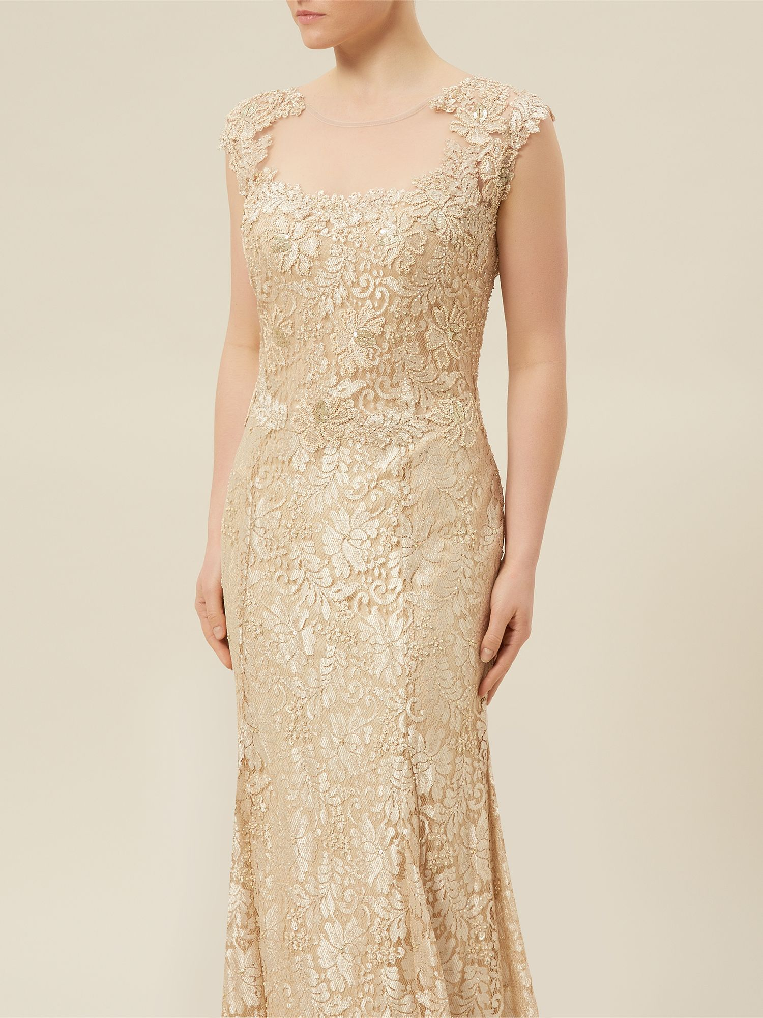 jacques vert lace beaded evening dress in gold neutral