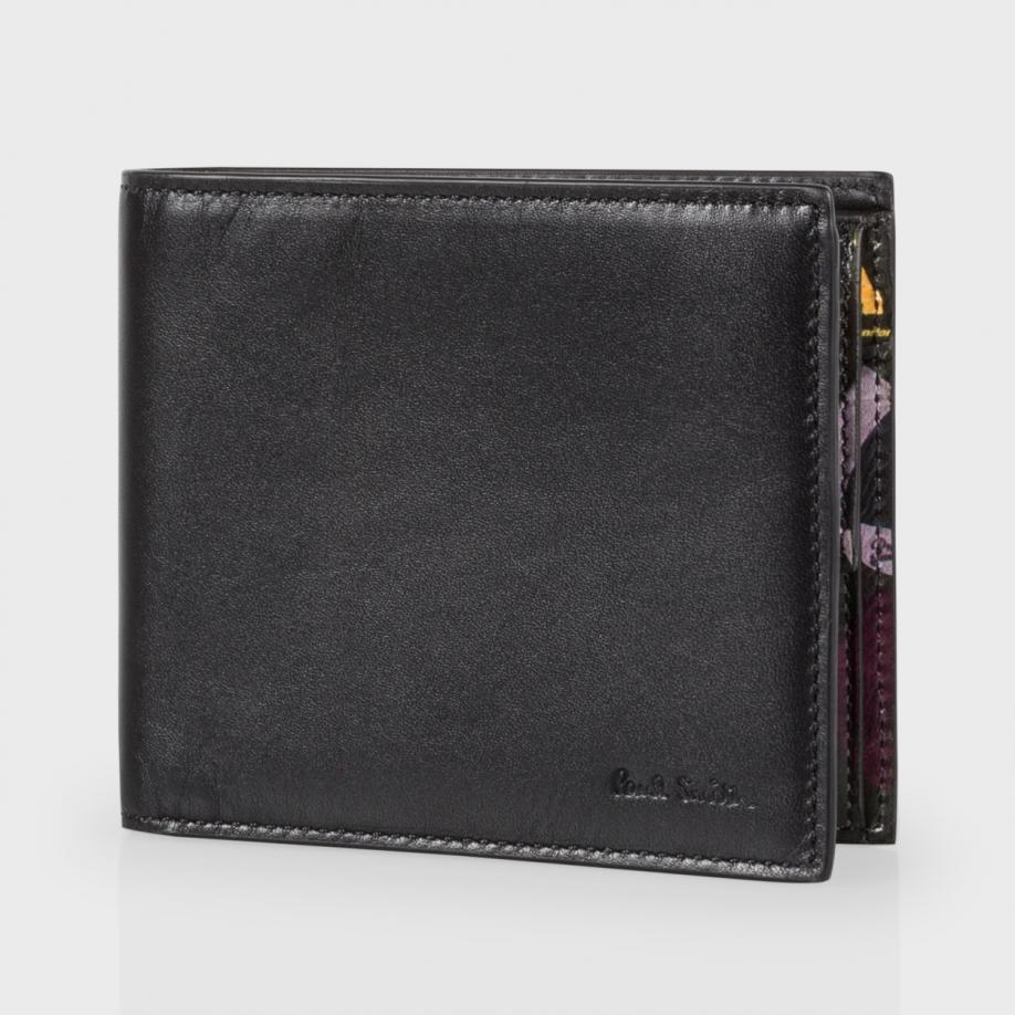 Paul Smith Men 39 S Black Leather 39 Cycling Caps 39 Print Interior Billfold And Coin Wallet In Black