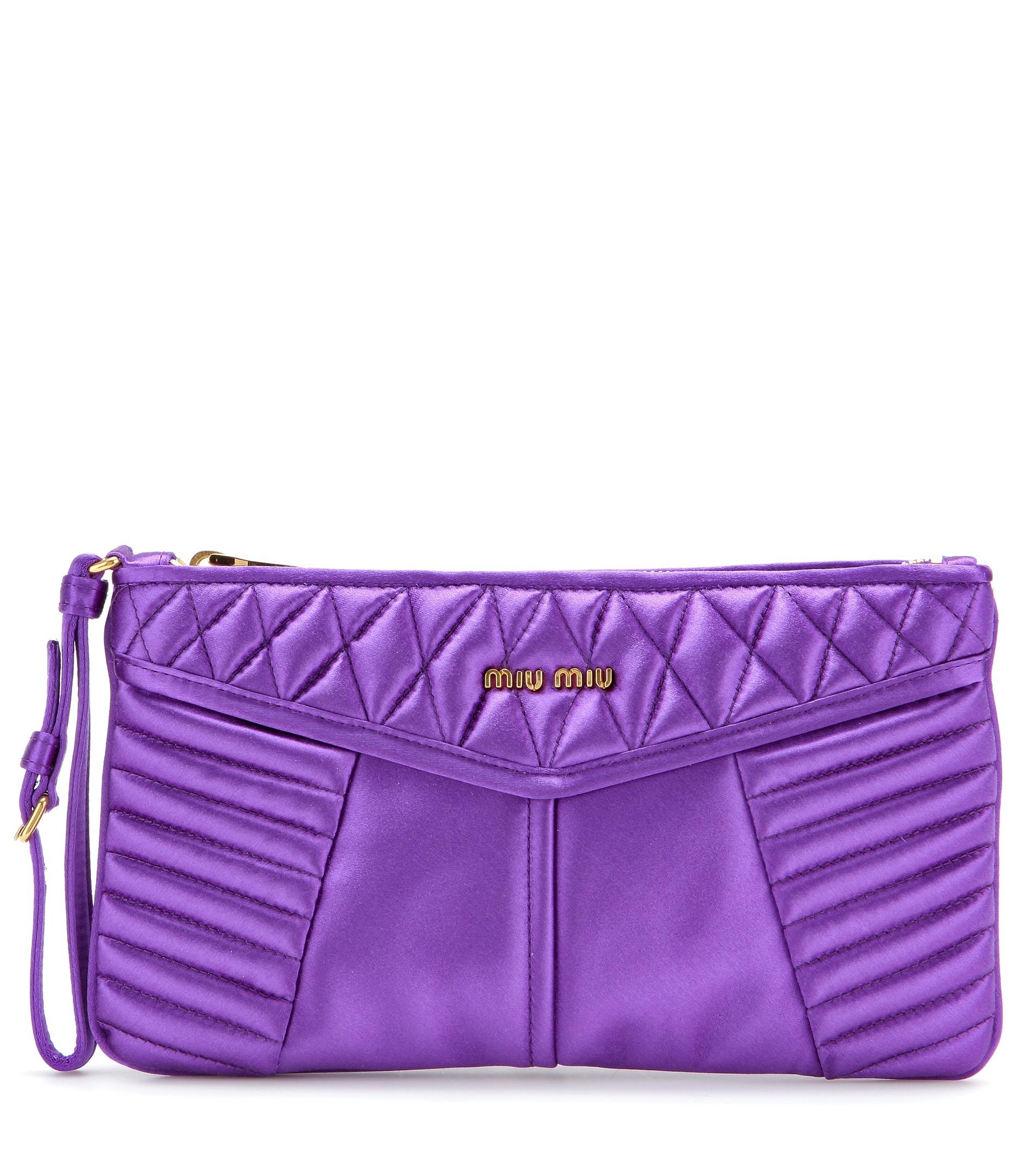 lyst miu miu matelass satin clutch in purple. Black Bedroom Furniture Sets. Home Design Ideas