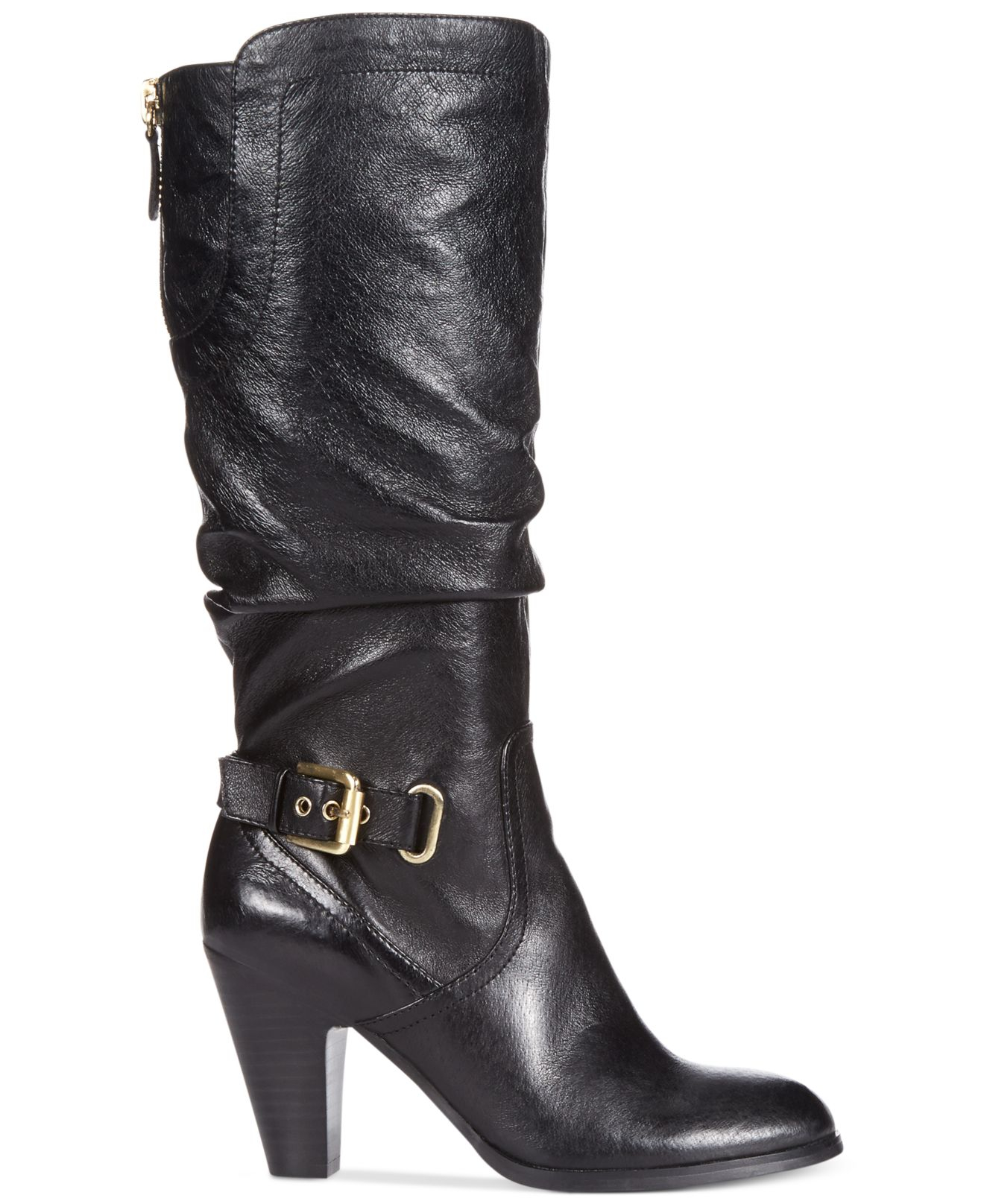guess gandy leather lace up boot in black lyst