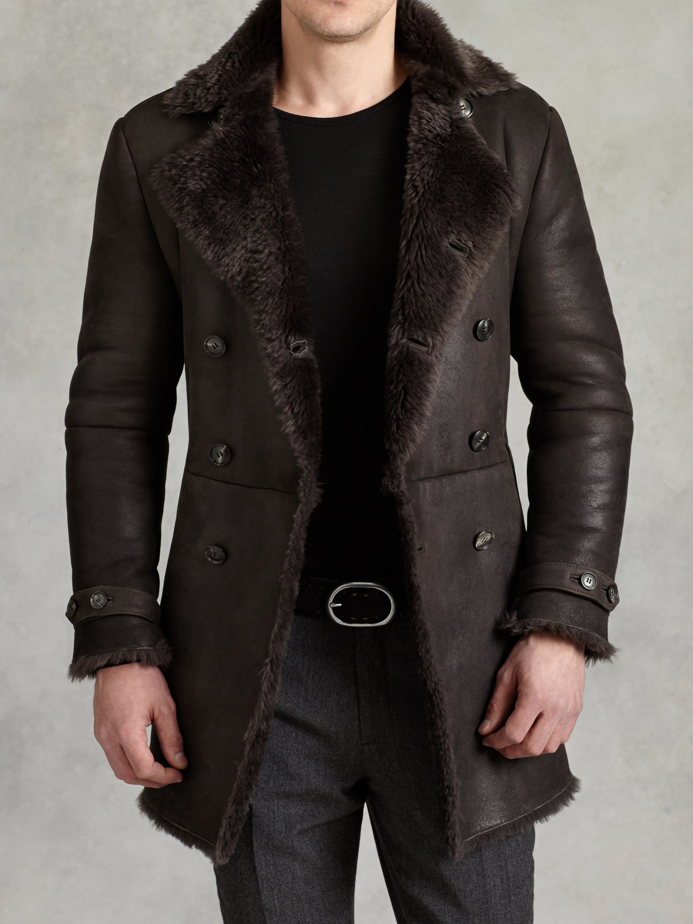 John varvatos Double Breasted Shearling Coat in Brown for Men | Lyst