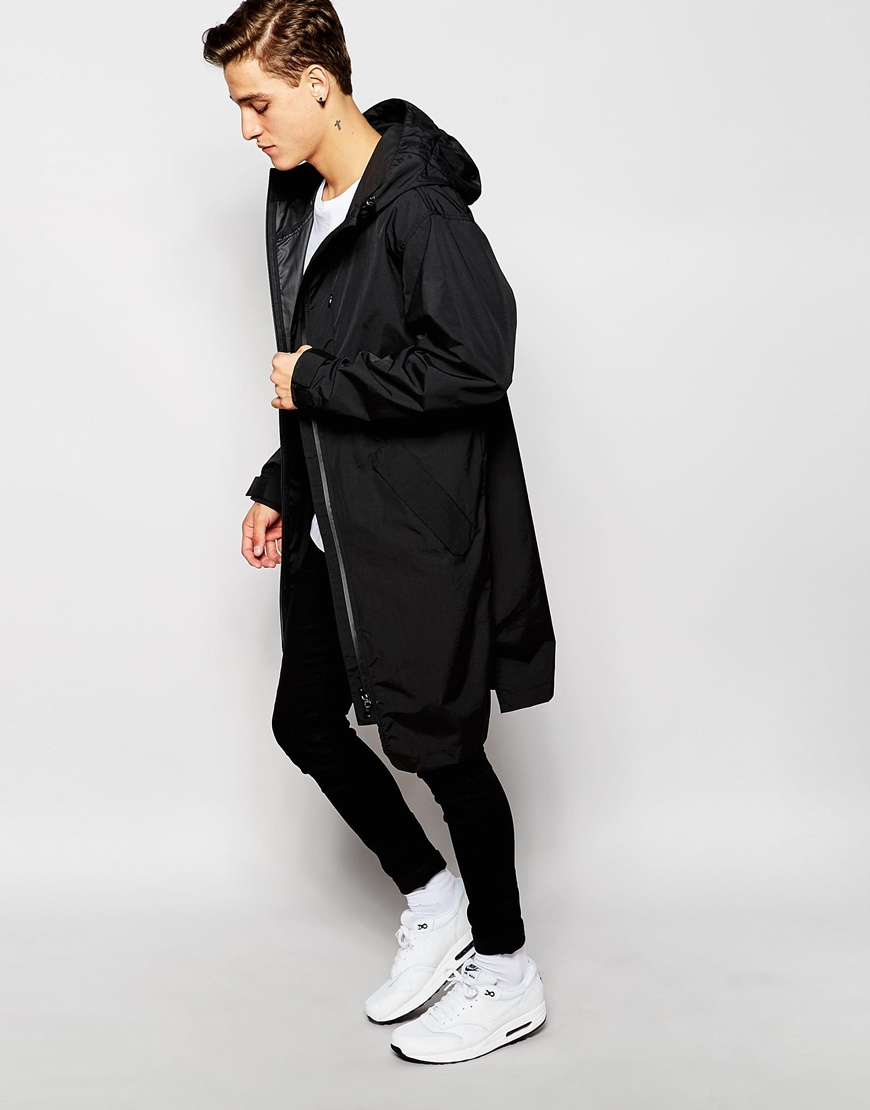 Asos Longline Parka Jacket In Black in Black for Men | Lyst