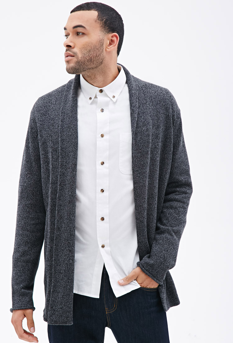Forever 21 Heathered Open Cardigan in Gray for Men | Lyst