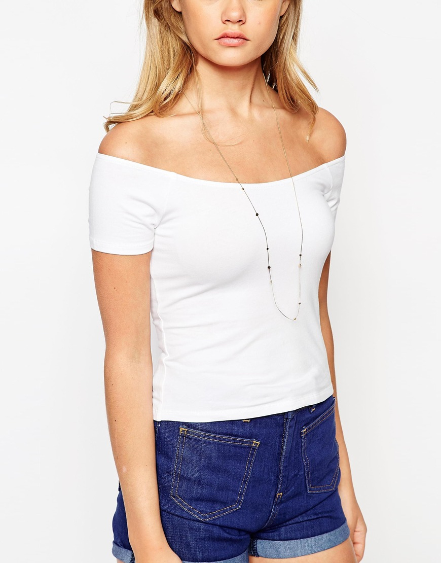 306ed136fe7530 Lyst - ASOS The Off Shoulder Top With Short Sleeves in White