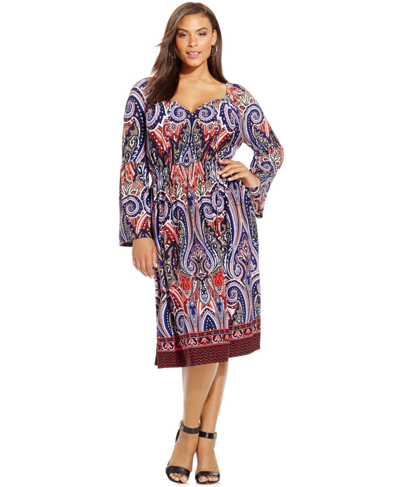 Plus Size Paisley-print Peasant Dress