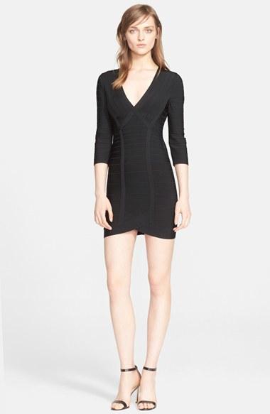 Lyst Herv Lger Long Sleeve V Neck Bandage Dress In Black