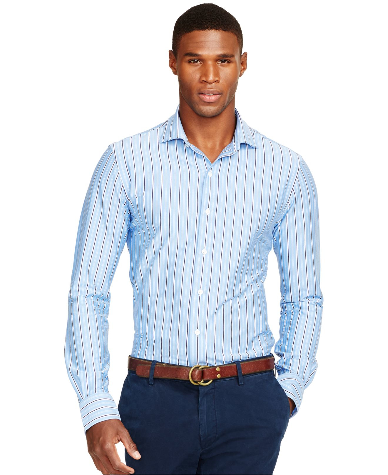Lyst Polo Ralph Lauren Striped Knit Estate Dress Shirt In Blue For Men