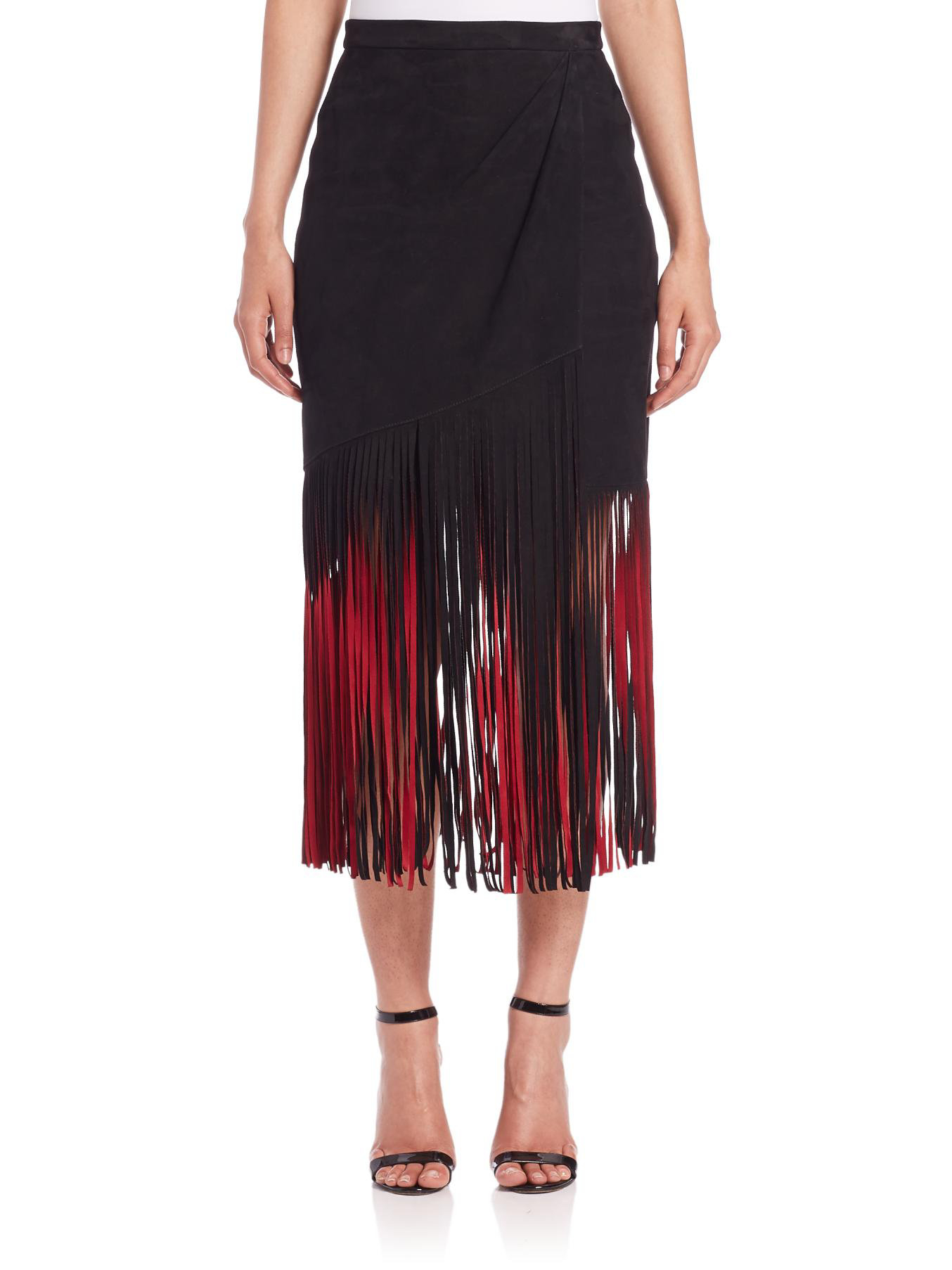 Goat leather work gloves - Tamara Mellon Signature Suede Fringe Skirt In Red Lyst