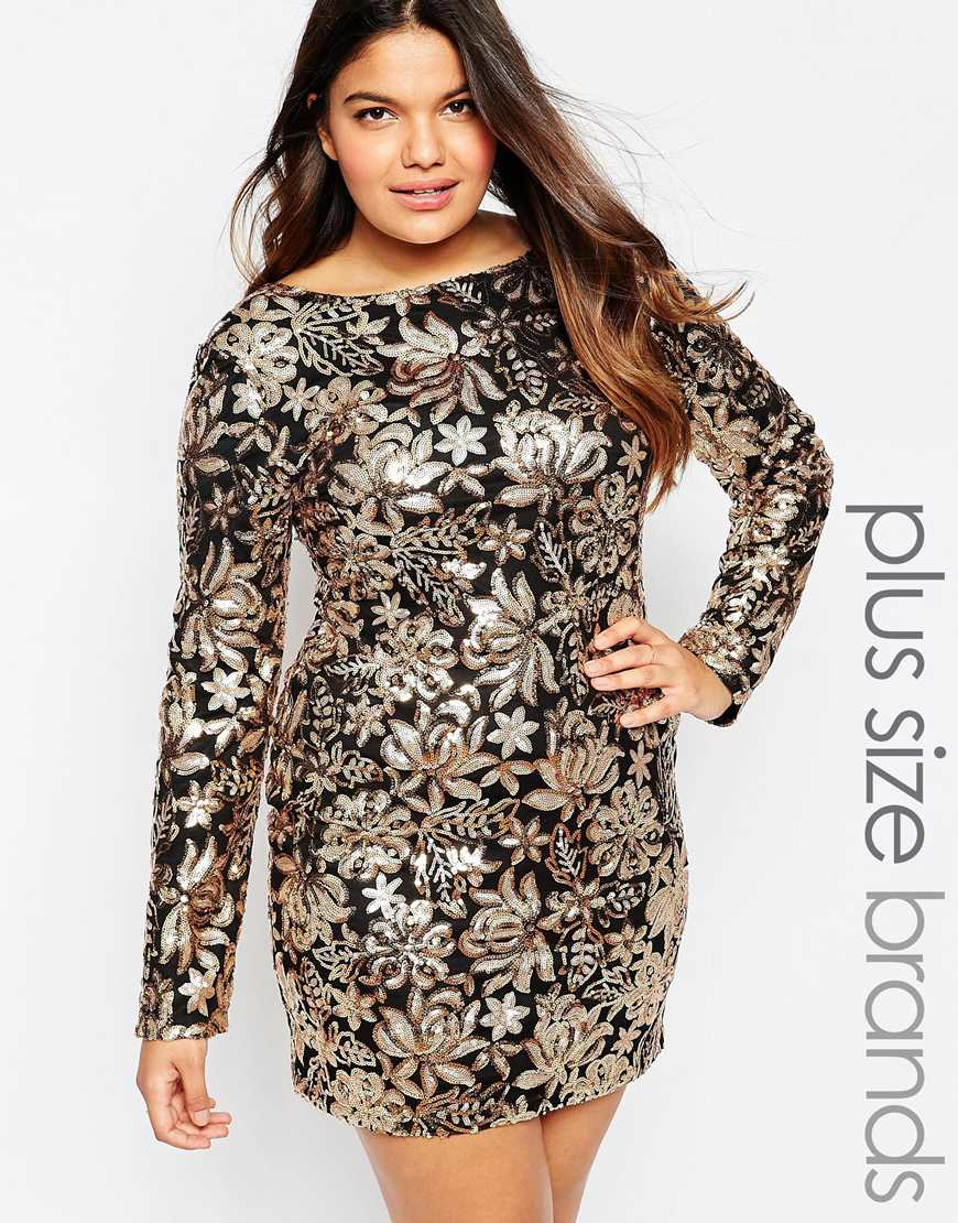 Plus Size Dress In Floral Sequins