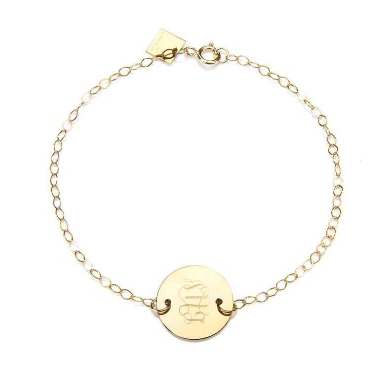 ginette ny mini disc monogram bracelet gold in gold lyst