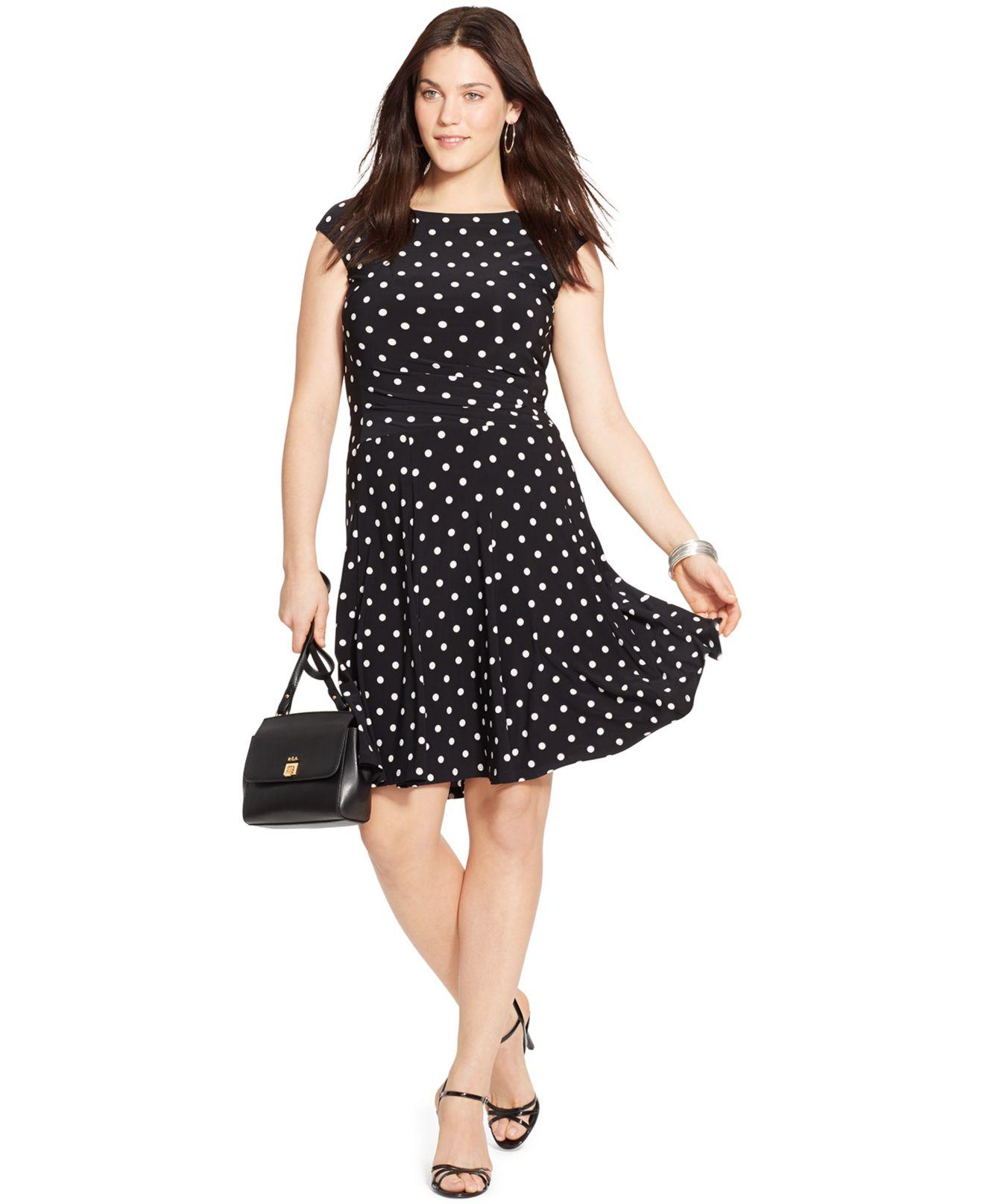 Lyst Lauren By Ralph Lauren Plus Size Sleeveless Polka Dot Dress