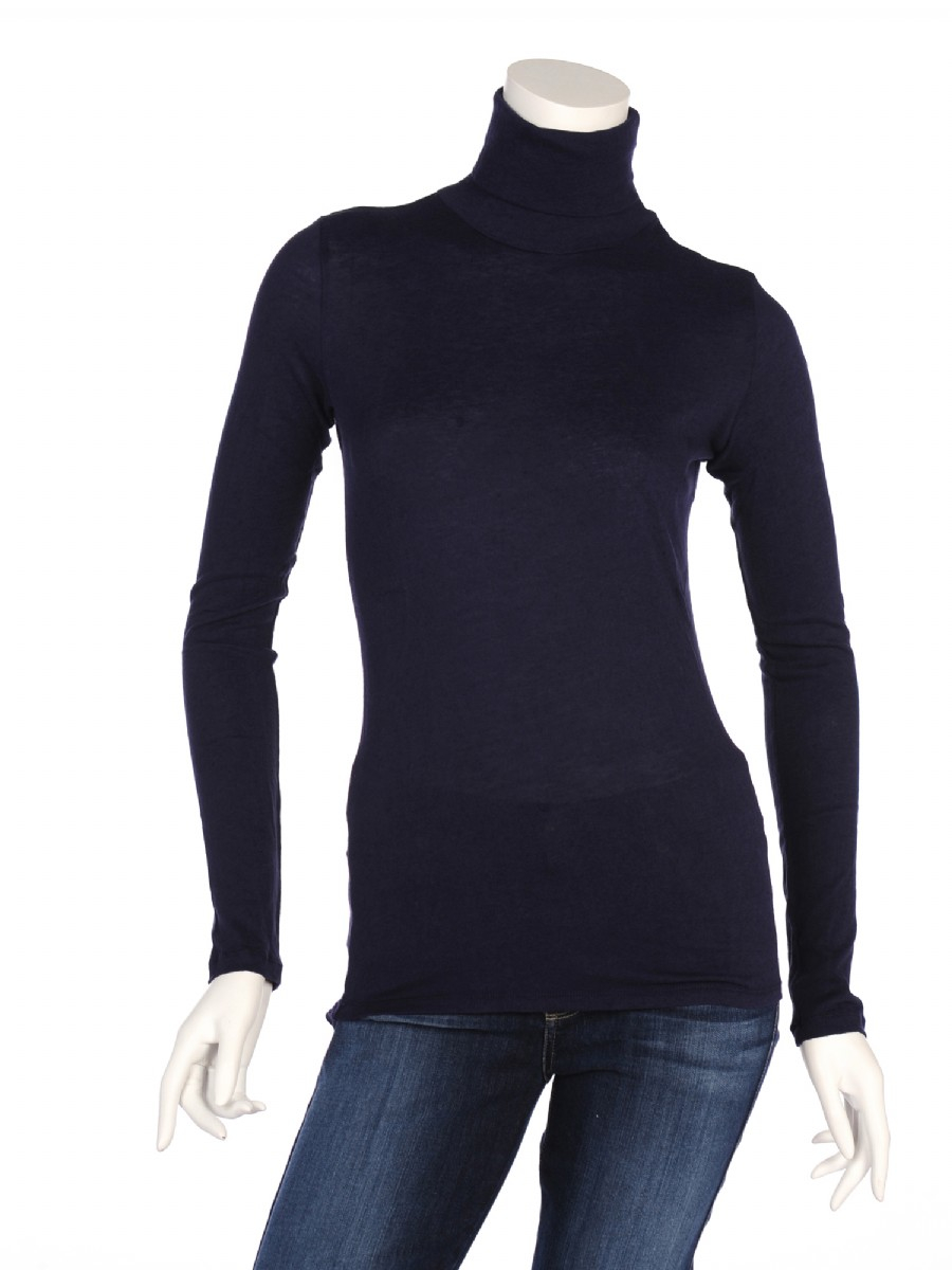 Majestic Long Sleeve Cotton Cashmere Turtleneck In Blue