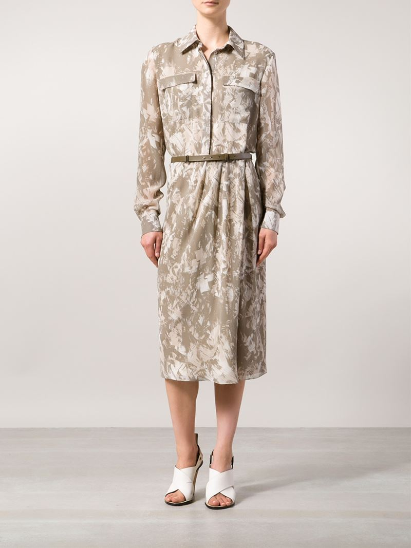 Jason wu camouflage shirt dress in green lyst for Green camo shirt outfit