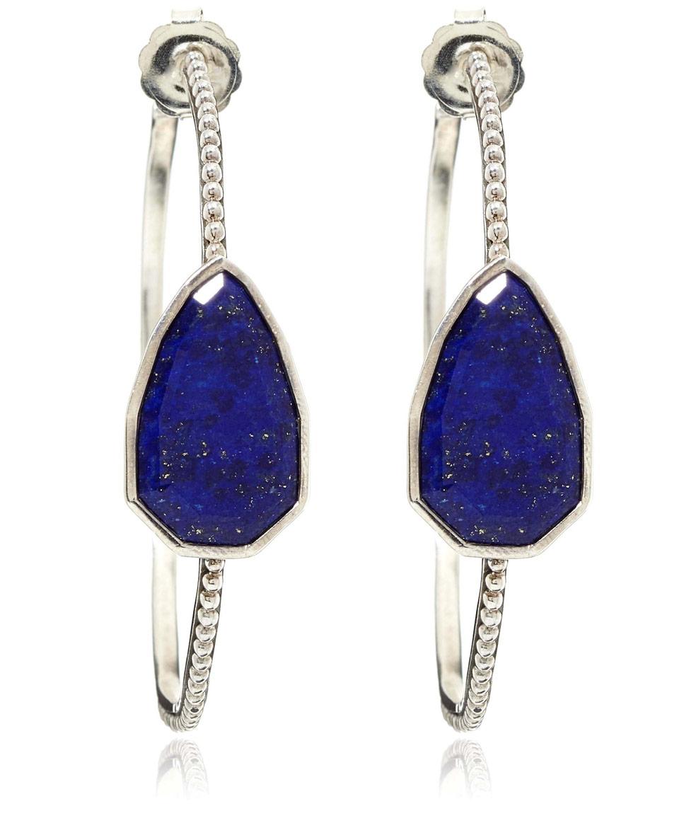 stephen dweck silver lapis lazuli cathedral hoop earrings