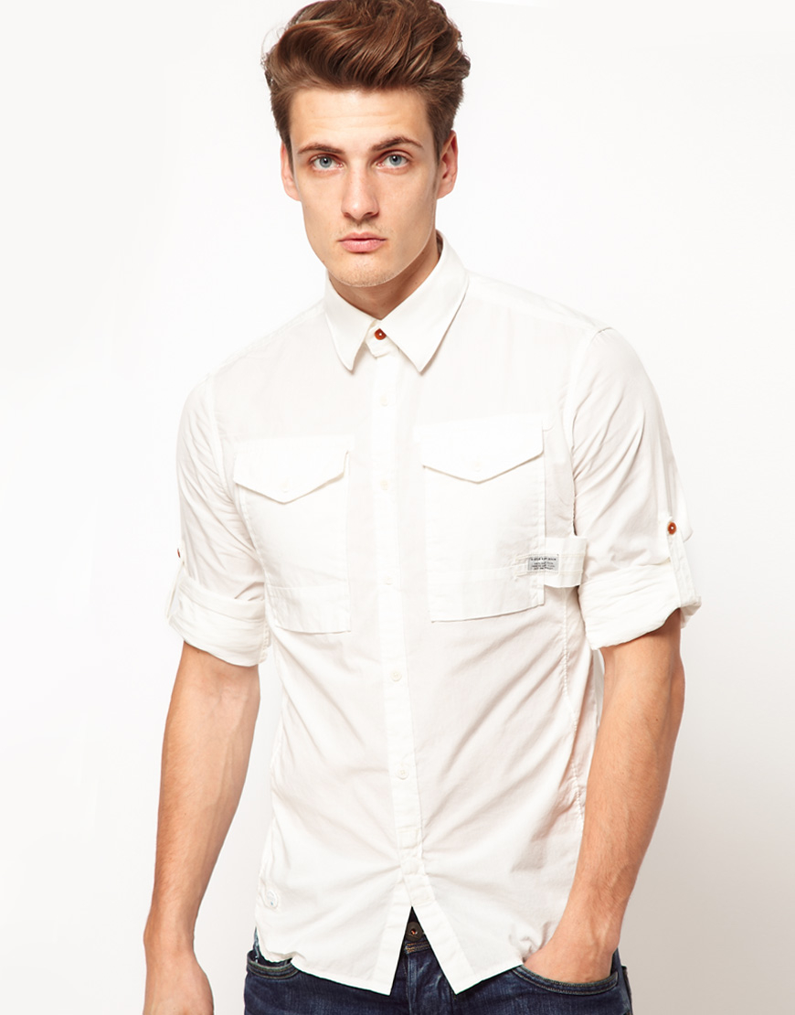 G Star Raw G Star Shirt With Rollup Sleeve In White For