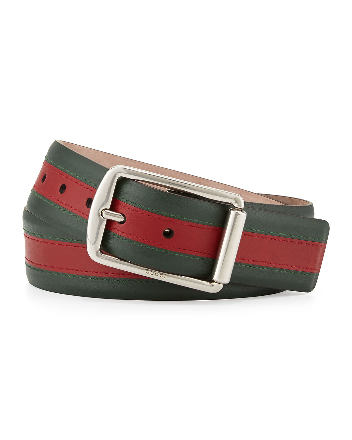 6962fd0368aa1f Gucci Signature Web Leather Belt in Green for Men - Lyst