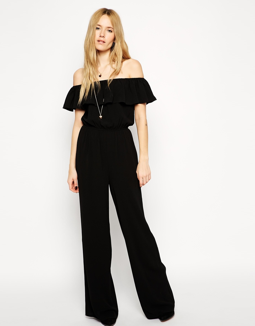 4ee5c803252 Asos Jumpsuit With Off Shoulder Ruffle in Black