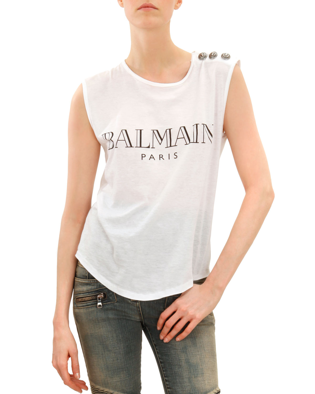 balmain sleeveless logo tshirt with shoulder buttons in black lyst. Black Bedroom Furniture Sets. Home Design Ideas