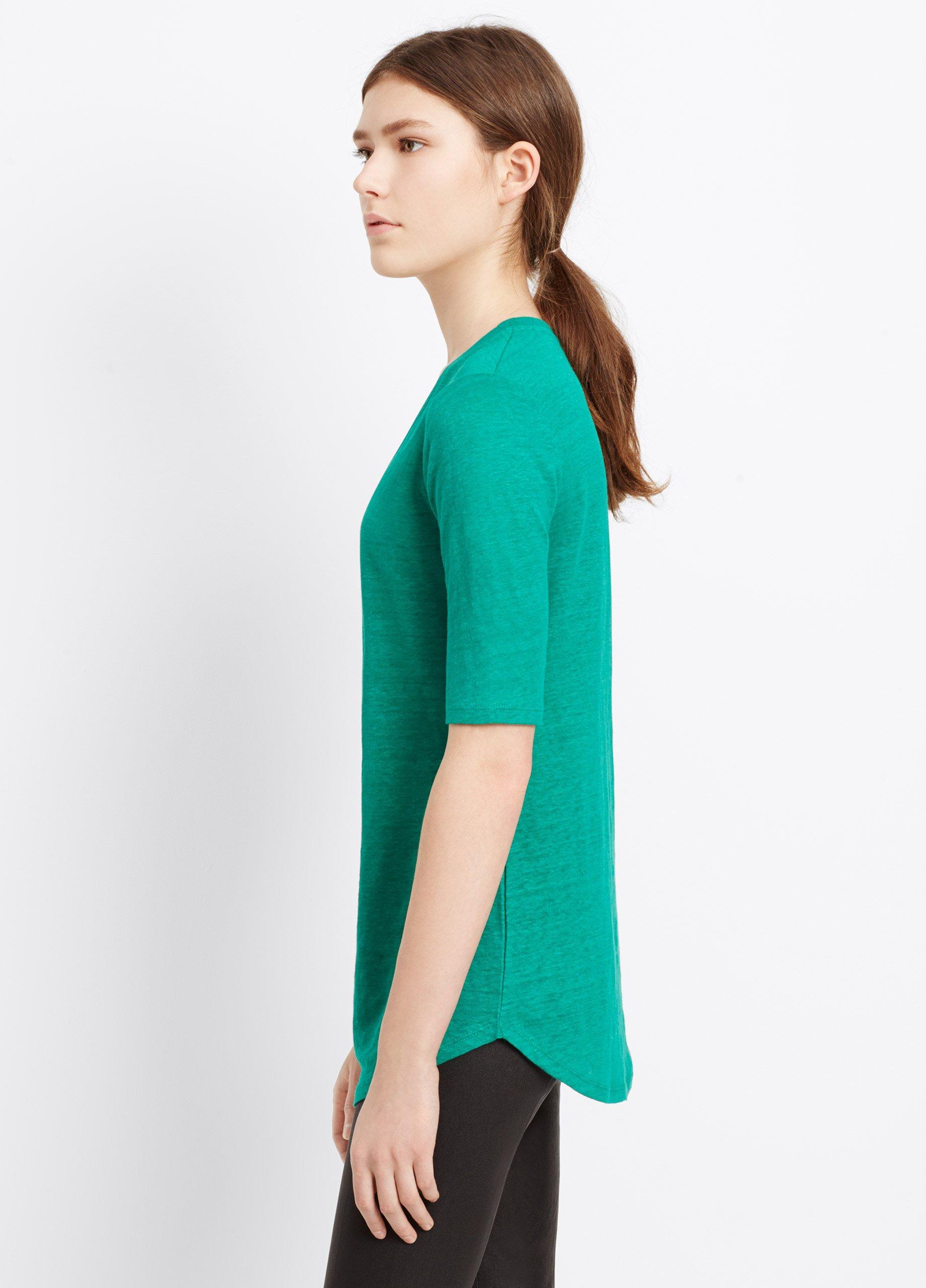 Vince Elbow Sleeve Linen Tee In Emerald Green Lyst