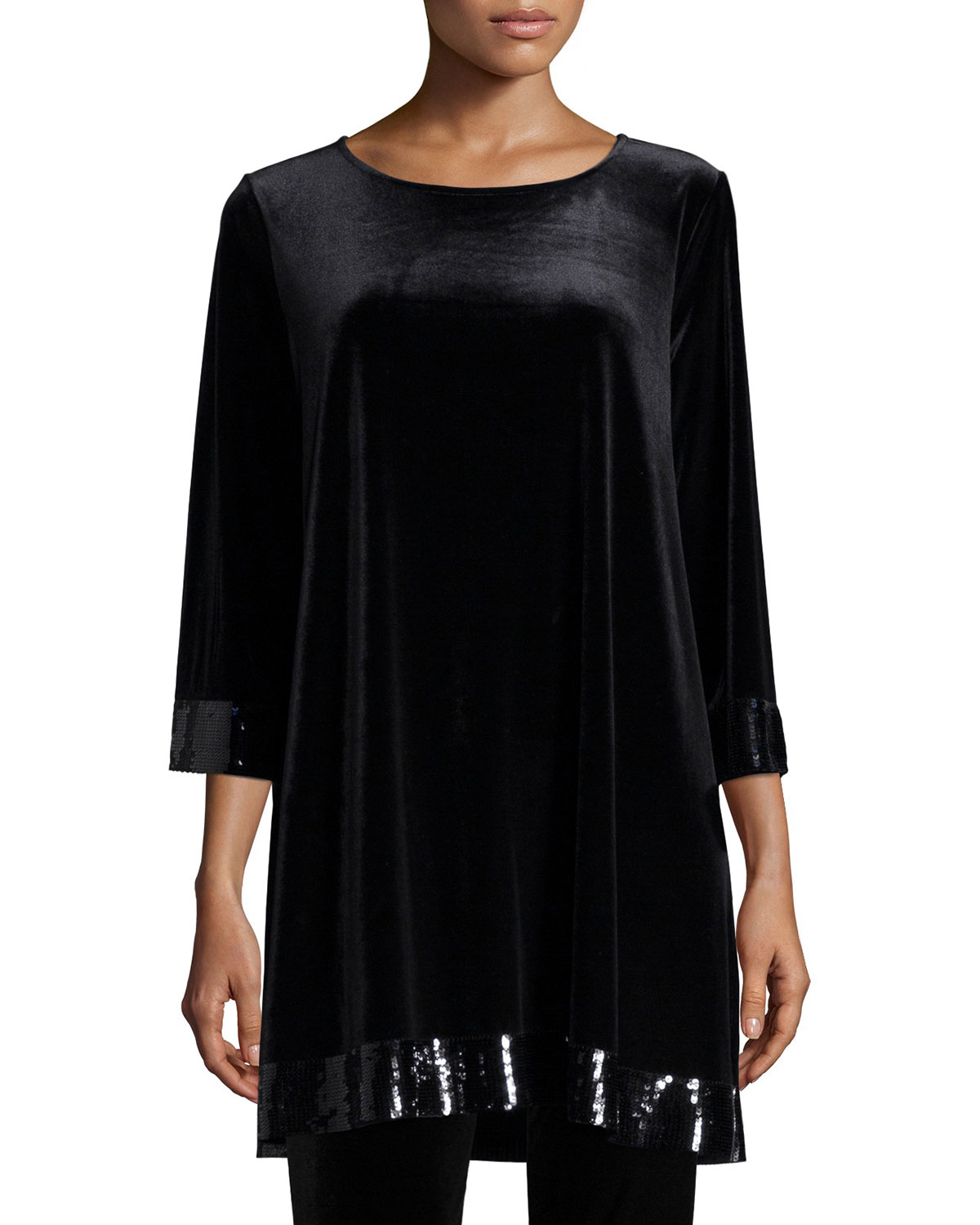 Joan Vass 3/4-sleeve Velour Tunic With Sequined Trim In