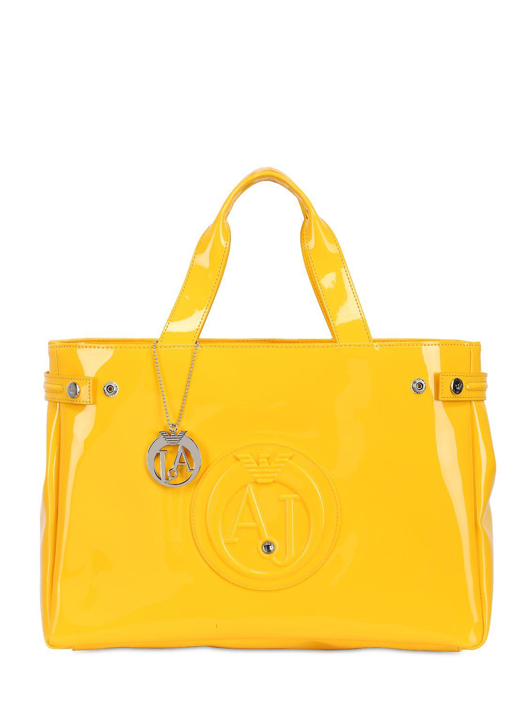 Lyst - Armani Jeans Medium Embossed Logo Patent Vinyl Bag in Yellow 34700ff7b5be3