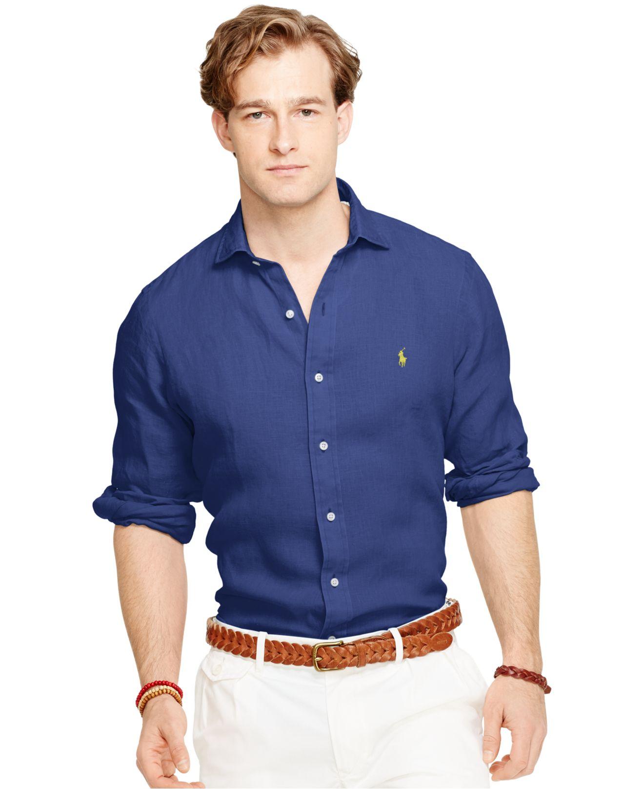 polo ralph lauren linen sport shirt in blue for men lyst. Black Bedroom Furniture Sets. Home Design Ideas