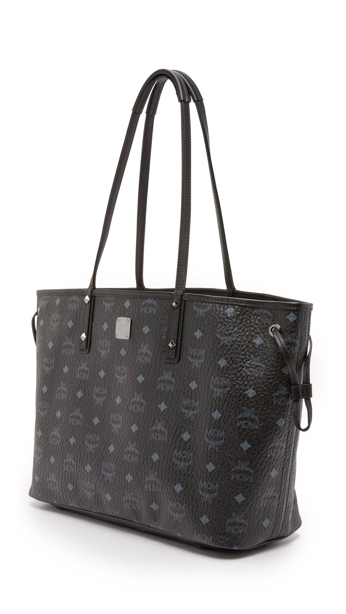MCM Leather Shopper Tote - Black
