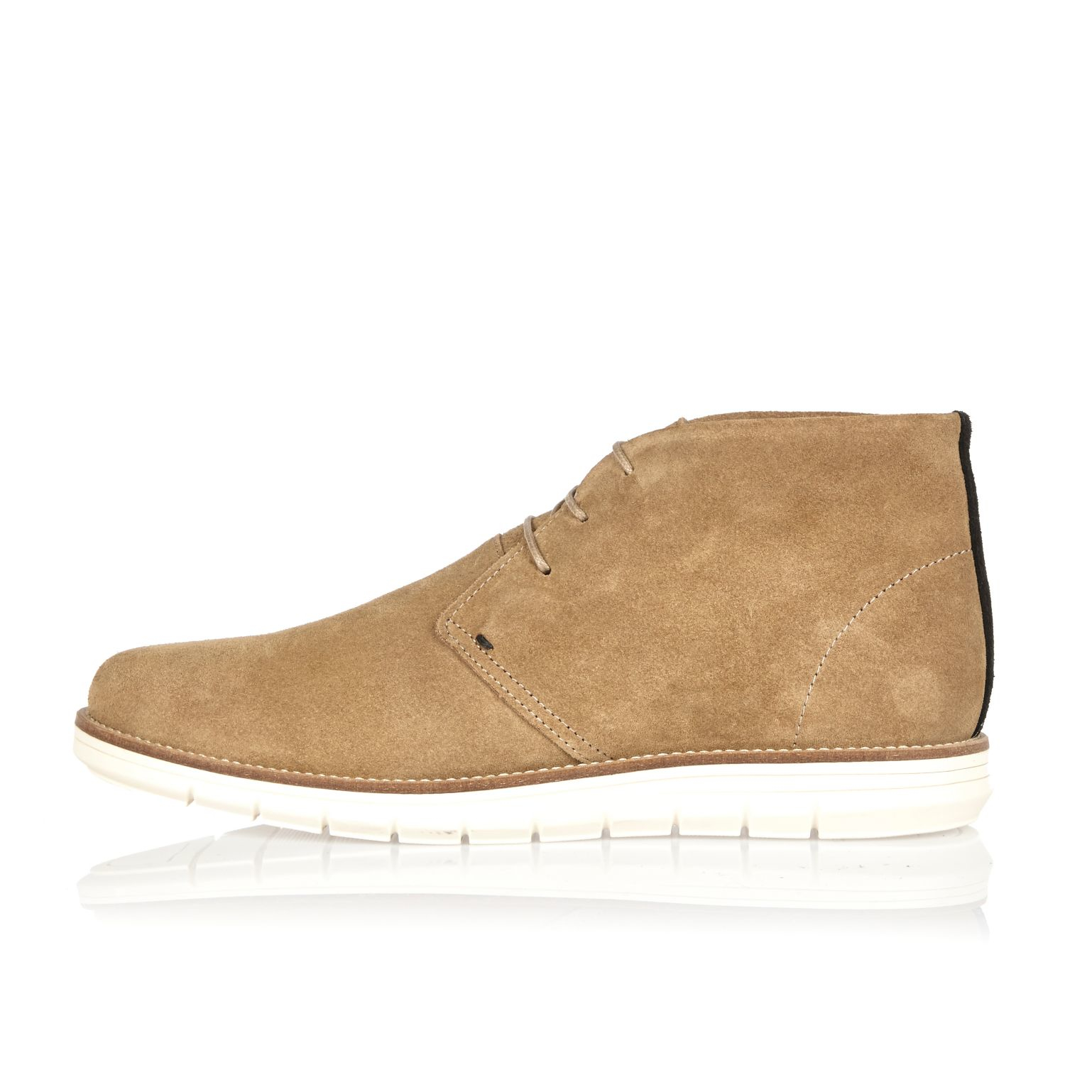 river island camel suede wedge chukka boots in brown for