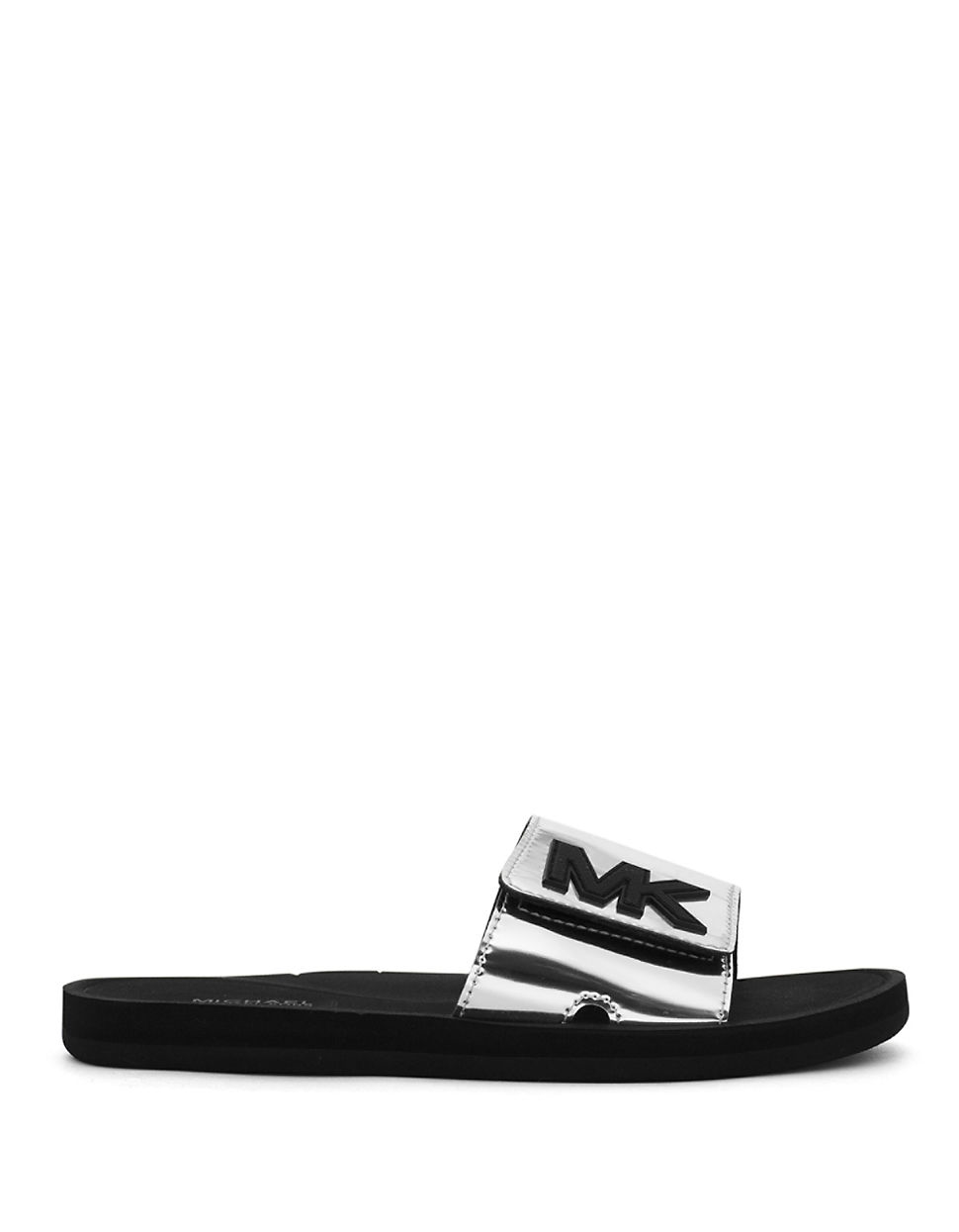 Michael michael kors MK Logo Faux-Leather Slides in Metallic | Lyst
