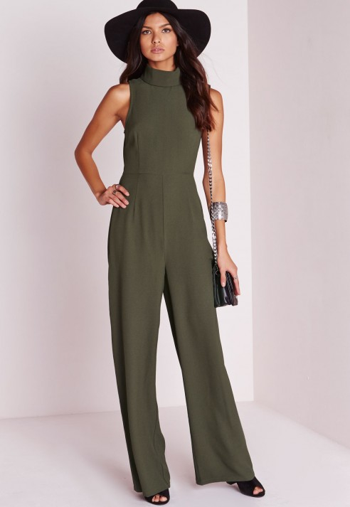 Luxury  Women39s VNeck 34 Sleeve Solid Color Jumpsuit Black White Khaki