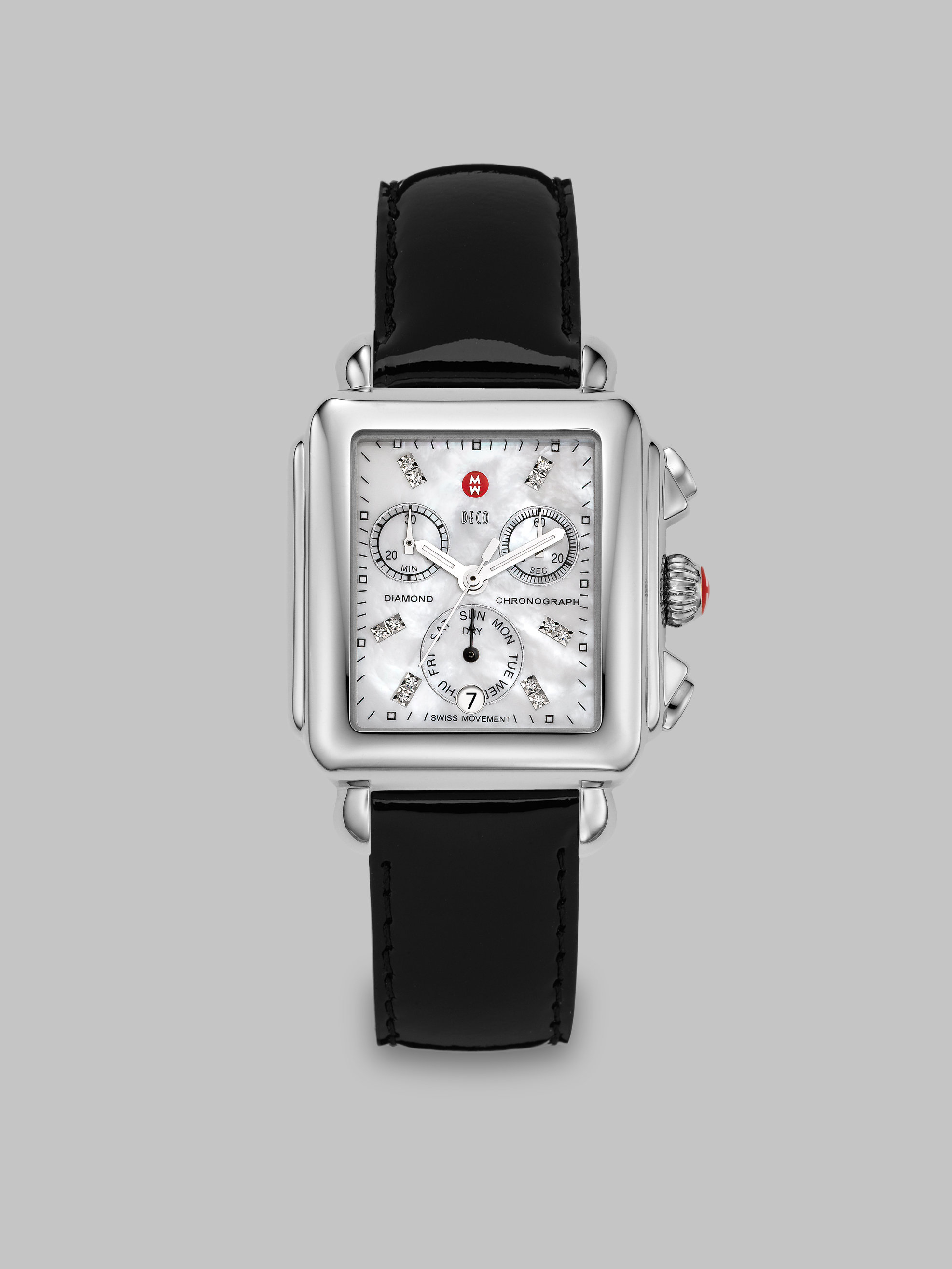 Michele Deco 18 Diamond, Mother-of-pearl, Stainless Steel ...