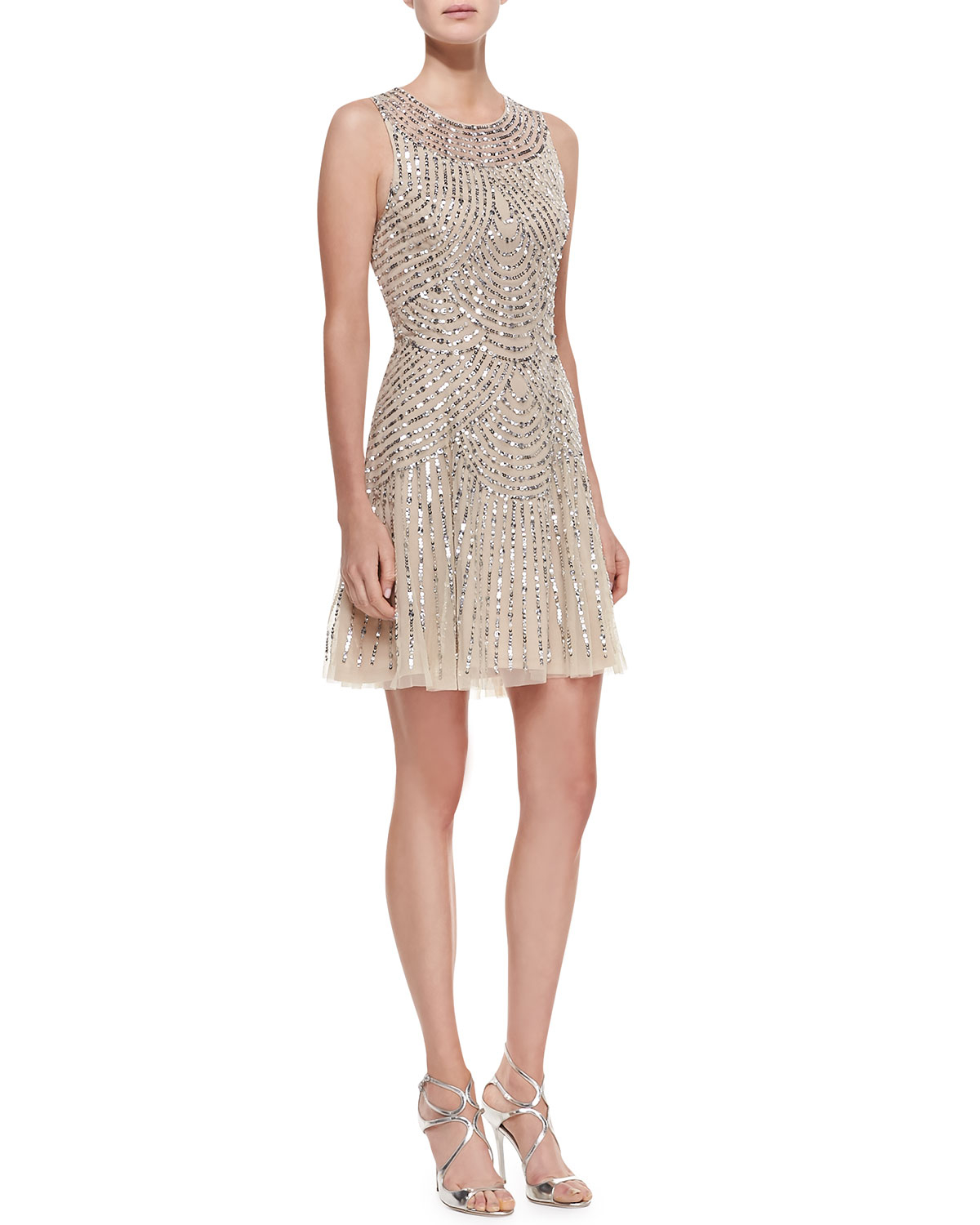 Lyst Aidan Mattox Sequined Beaded Deco Cocktail Dress In