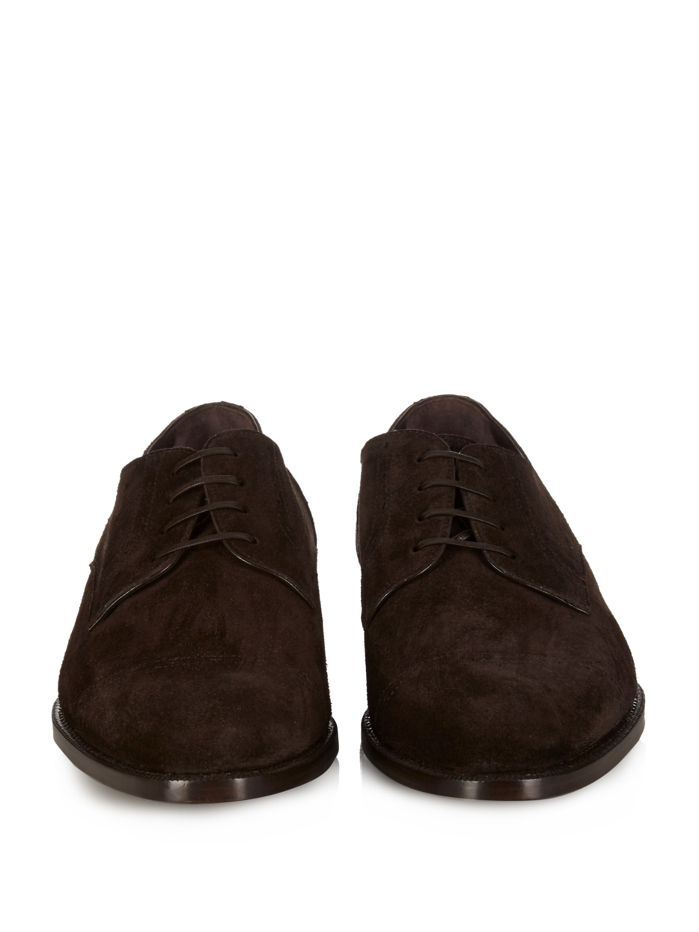 Lyst Ermenegildo Zegna Lace Up Suede Oxford Shoes In