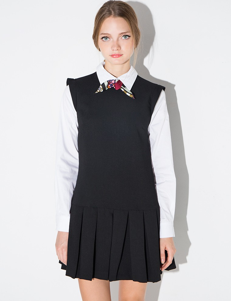 Lyst pixie market scarf tie shirt dress in black for Black dress shirt outfit