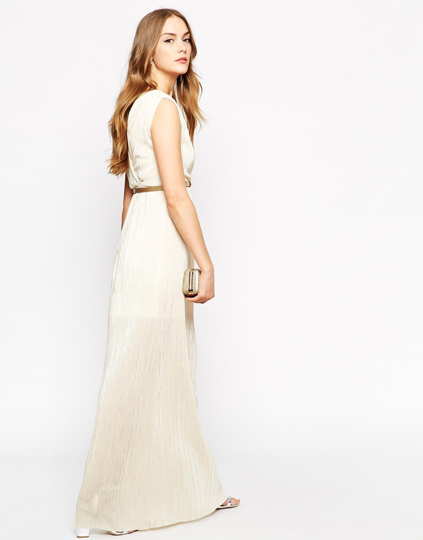 oh my wrap front maxi dress with belt in white lyst