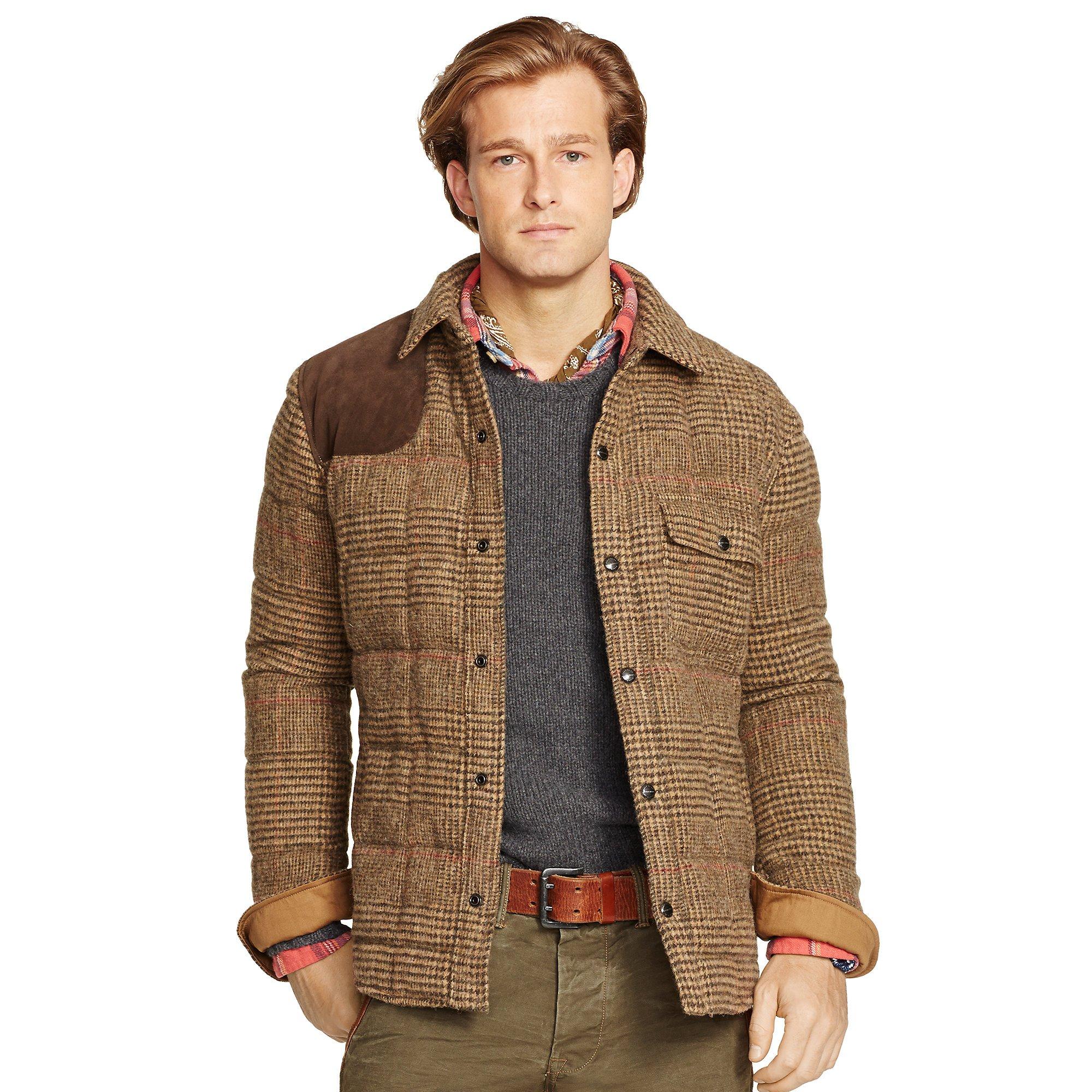 Polo Ralph Lauren Glen Plaid Down Shirt Jacket In Brown