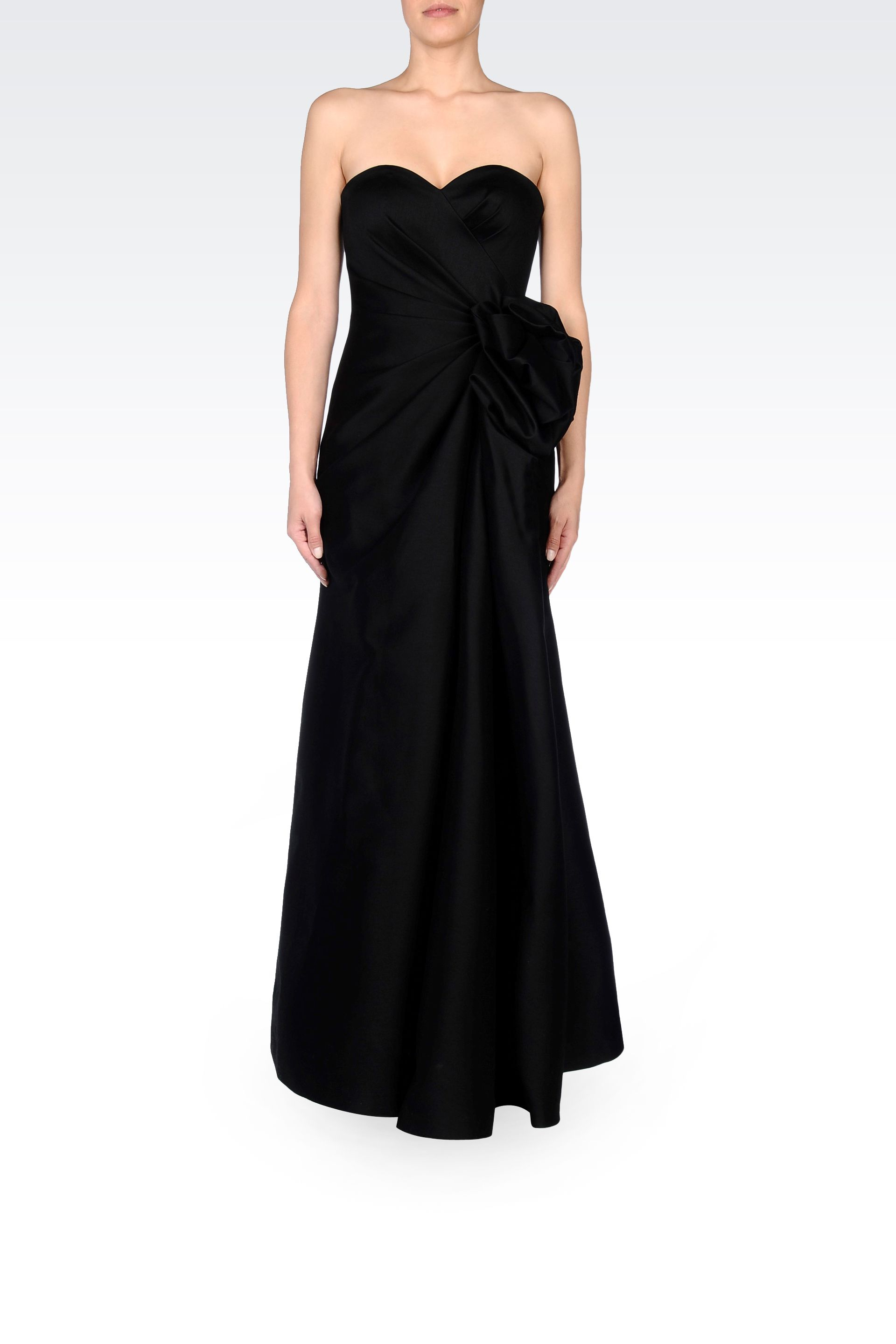 Armani Long Evening Dress With Bow in Black | Lyst
