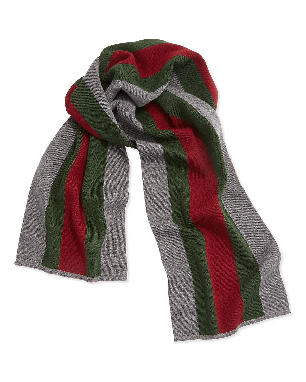 gucci striped wool silk crook scarf in gray lyst