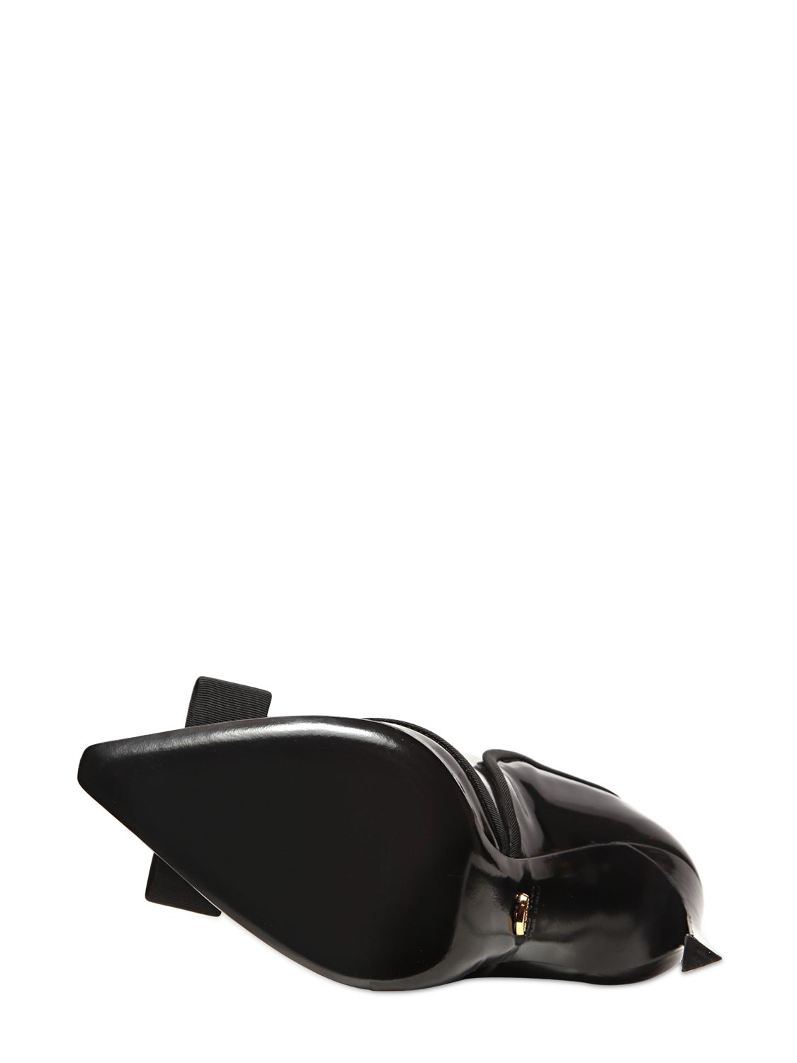 Sergio Rossi 110Mm Pierrot Brushed Leather Bow Boots in Black
